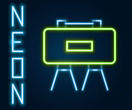 Glowing neon line Military mine icon isolated on black background. Claymore mine explosive device. Anti personnel mine. Army explosive. Colorful outline concept. Vector