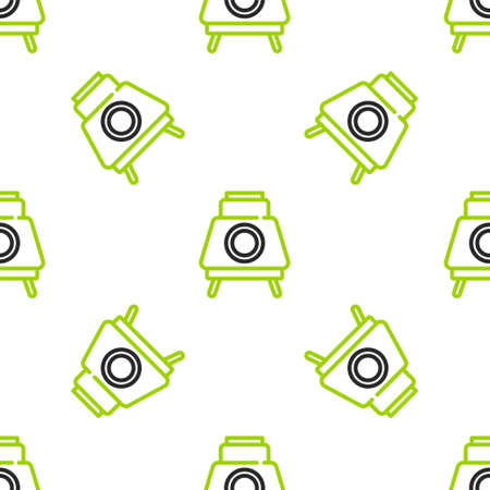Line Mars rover icon isolated seamless pattern on white background. Space rover. Moonwalker sign. Apparatus for studying planets surface. Vector