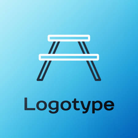 Line Picnic table with benches on either side of the table icon isolated on blue background. Colorful outline concept. Vector