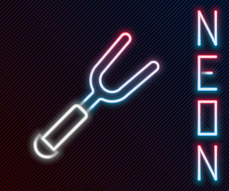 Glowing neon line Barbecue fork icon isolated on black background. BBQ fork sign. Barbecue and grill tool. Colorful outline concept. Vector