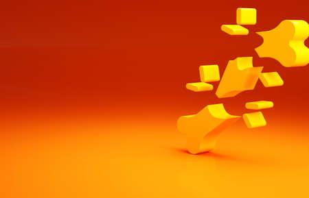 Yellow Human broken bone icon isolated on orange background. Minimalism concept. 3d illustration 3D render