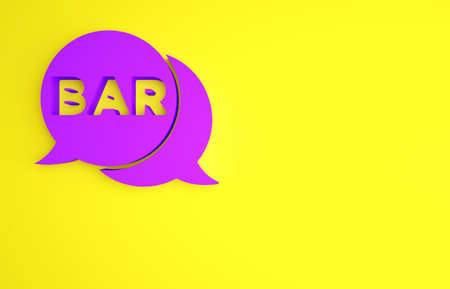 Purple Street signboard with inscription Bar icon isolated on yellow background. Suitable for advertisements bar, cafe, restaurant. Minimalism concept. 3d illustration 3D render