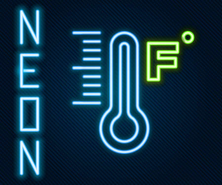Glowing neon line Meteorology thermometer measuring heat and cold icon isolated on black background. Temperature Fahrenheit. Colorful outline concept. Vector