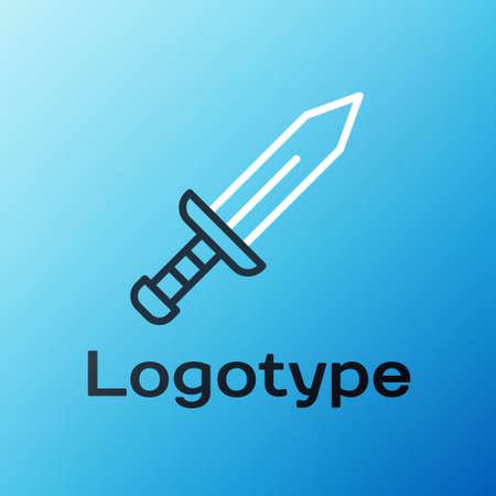 Line Sword icon isolated on blue background. Medieval weapon. Colorful outline concept. Vector