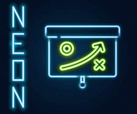 Glowing neon line Planning strategy concept icon isolated on black background. Cup formation and tactic. Colorful outline concept. Vector Çizim