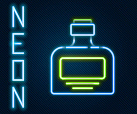 Glowing neon line Whiskey bottle icon isolated on black background. Colorful outline concept. Vector