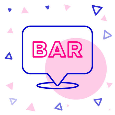 Line Alcohol or beer bar location icon isolated on white background. Symbol of drinking, pub, club, bar. Colorful outline concept. Vector
