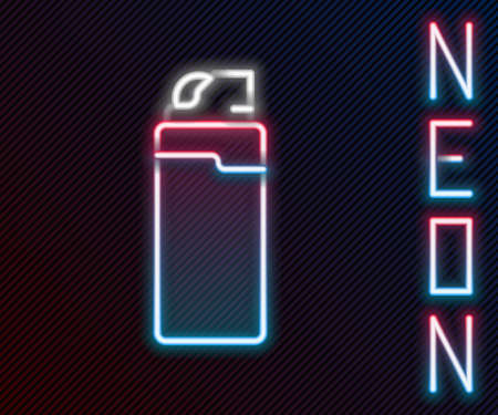 Glowing neon line Lighter icon isolated on black background. Colorful outline concept. Vector