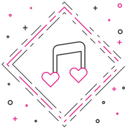 Line Music note, tone with hearts icon isolated on white background. Valentines day. Colorful outline concept. Vector
