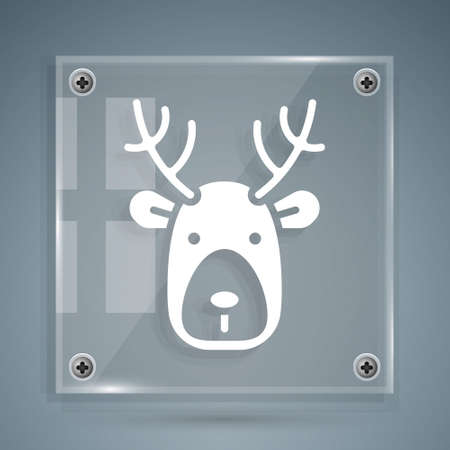 White Deer head with antlers icon isolated on grey background. Square glass panels. Vector