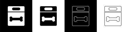 Set Dog bone icon isolated on black and white background. Pets food symbol. Vector 向量圖像
