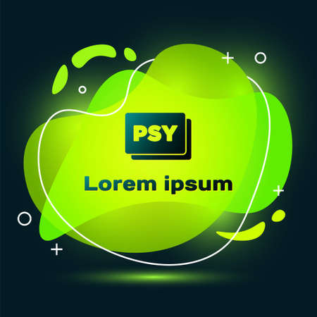 Black Psychology icon isolated on black background. Psi symbol. Mental health concept, psychoanalysis analysis and psychotherapy. Abstract banner with liquid shapes. Vector