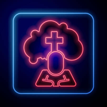 Glowing neon Man graves funeral sorrow icon isolated on blue background. The emotion of grief, sadness, sorrow, death. Vector Illustration