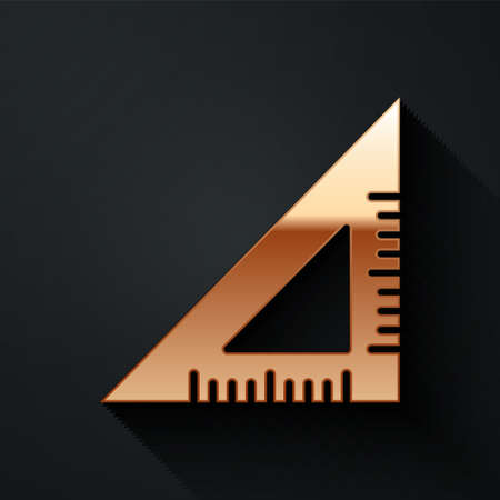 Gold Triangular ruler icon isolated on black background. Straightedge symbol. Geometric symbol. Long shadow style. Vector