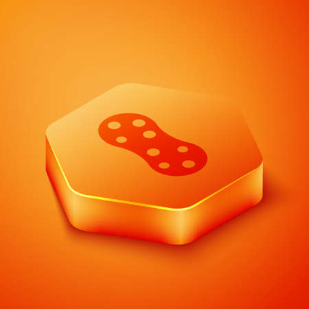 Isometric Sponge with bubbles icon isolated on orange background. Wisp of bast for washing dishes. Cleaning service logo. Orange hexagon button. Vector