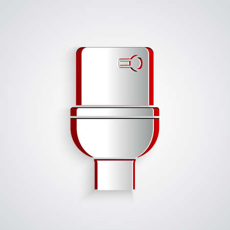 Paper cut Toilet bowl icon isolated on grey background. Paper art style. Vector