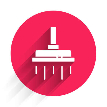 White Shower head with water drops flowing icon isolated with long shadow. Red circle button. Vector