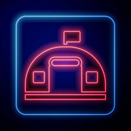 Glowing neon Military barracks station icon isolated on blue background. Airstrikes architecture army. Vector