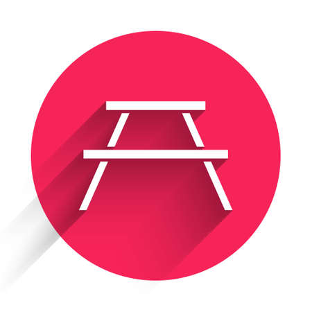 White Picnic table with benches on either side of the table icon isolated with long shadow. Red circle button. Vector