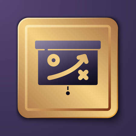 Purple Planning strategy concept icon isolated on purple background. Cup formation and tactic. Gold square button. Vector