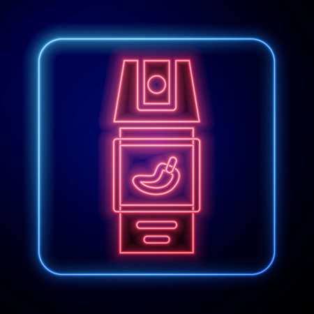 Glowing neon Pepper spray icon isolated on blue background. OC gas. Capsicum self defense aerosol. Vector