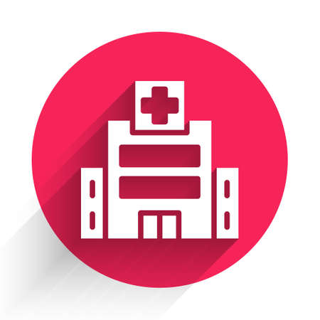 White Medical hospital building with cross icon isolated with long shadow. Medical center. Health care. Red circle button. Vector