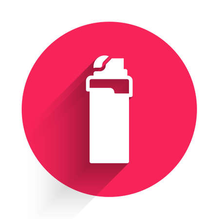 White Lighter icon isolated with long shadow. Red circle button. Vector Illusztráció