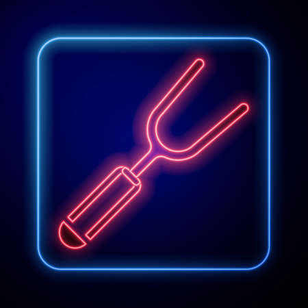 Glowing neon Barbecue fork icon isolated on blue background. BBQ fork sign. Barbecue and grill tool. Vector
