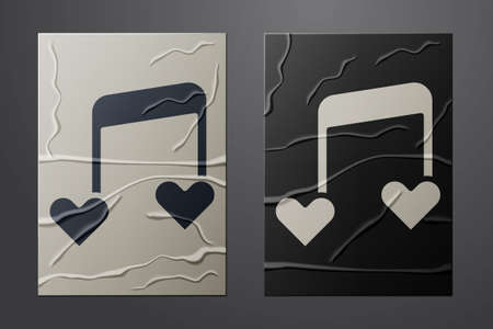 White Music note, tone with hearts icon isolated on crumpled paper background. Valentines day. Paper art style. Vector Illusztráció