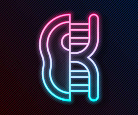 Glowing neon line Genetically modified meat icon isolated on black background. Syringe being injected to meat. Vector