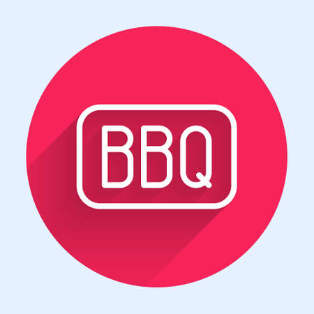 White line Barbecue icon isolated with long shadow. Heat symbol. BBQ grill party. Red circle button. Vector