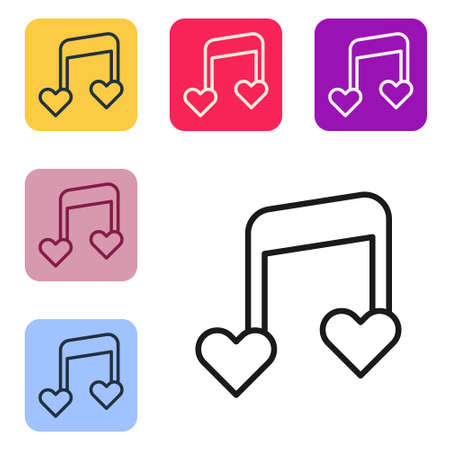 Black line Music note, tone with hearts icon isolated on white background. Valentines day. Set icons in color square buttons. Vector Illusztráció