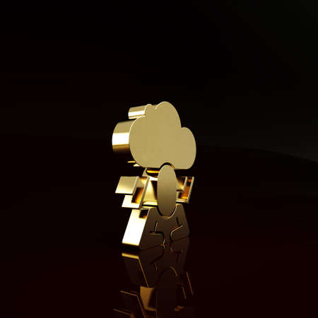 Gold Depression and frustration icon isolated on brown background. Man in depressive state of mind. Mental health problems. Minimalism concept. 3d illustration 3D render Stockfoto