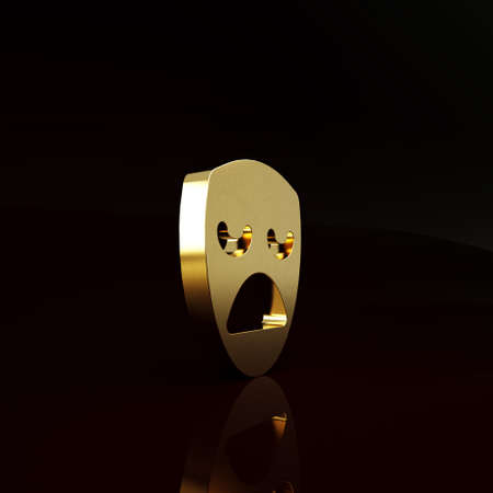 Gold Drama theatrical mask icon isolated on brown background. Minimalism concept. 3d illustration 3D render Stockfoto