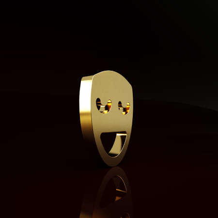 Gold Comedy theatrical mask icon isolated on brown background. Minimalism concept. 3d illustration 3D render Stockfoto