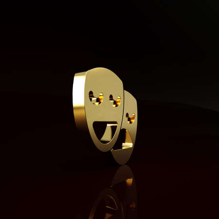 Gold Comedy and tragedy theatrical masks icon isolated on brown background. Minimalism concept. 3d illustration 3D render Stockfoto