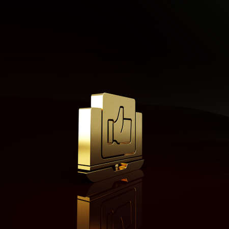Gold Hand like icon isolated on brown background. Minimalism concept. 3d illustration 3D render