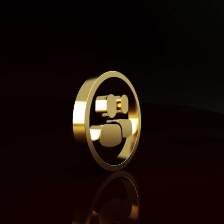 Gold Project team base icon isolated on brown background. Business analysis and planning, consulting, team work, project management. Minimalism concept. 3d illustration 3D render Imagens
