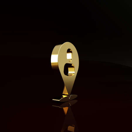 Gold Worker location icon isolated on brown background. Minimalism concept. 3d illustration 3D render