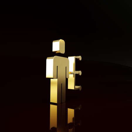 Gold User of man in business suit icon isolated on brown background. Business avatar symbol user profile icon. Male user sign. Minimalism concept. 3d illustration 3D render Imagens