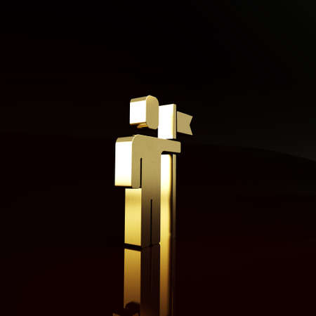 Gold Leader of a team of executives icon isolated on brown background. Minimalism concept. 3d illustration 3D render Imagens
