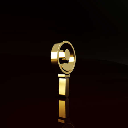 Gold Magnifying glass for search a people icon isolated on brown background. Recruitment or selection. Search for employees and job. Minimalism concept. 3d illustration 3D render