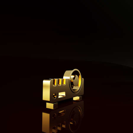 Gold Presentation, movie, film, media projector icon isolated on brown background. Minimalism concept. 3d illustration 3D render