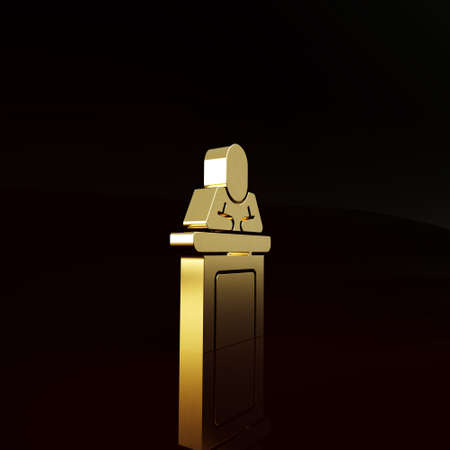 Gold Speaker icon isolated on brown background. Orator speaking from tribune. Public speech. Person on podium. Minimalism concept. 3d illustration 3D render