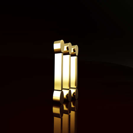 Gold Cotton swab for ears icon isolated on brown background. Minimalism concept. 3d illustration 3D render Imagens