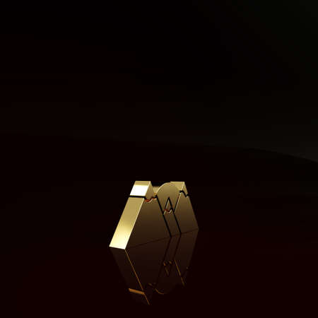 Gold Mountains icon isolated on brown background. Symbol of victory or success concept. Minimalism concept. 3d illustration 3D render