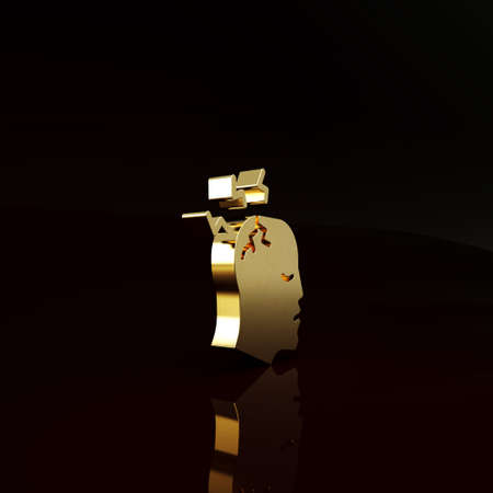 Gold Man having headache, migraine icon isolated on brown background. Minimalism concept. 3d illustration 3D render