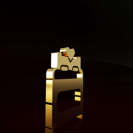 Gold Bedroom icon isolated on brown background. Wedding, love, marriage symbol. Bedroom creative icon from honeymoon collection. Minimalism concept. 3d illustration 3D render