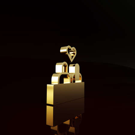 Gold Romantic silhouette of loving couple sit on a bench near icon isolated on brown background. Happy Valentines Day. Minimalism concept. 3d illustration 3D render Stok Fotoğraf