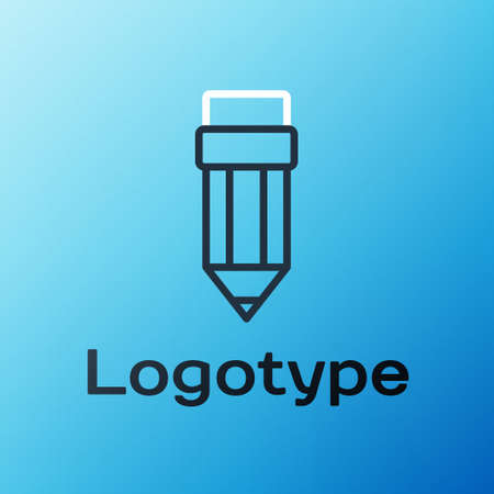 Line Pencil with eraser icon isolated on blue background. Drawing and educational tools. School office symbol. Colorful outline concept. Vector